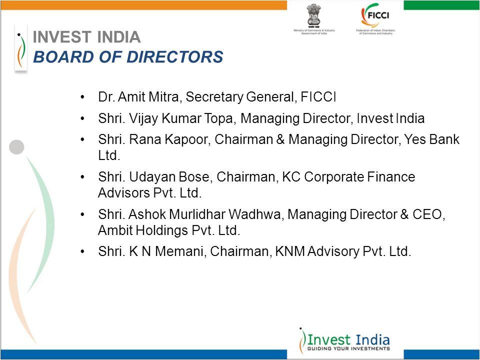 Dr. Amit Mitra, Secretary General, FICCI Shri. Vijay Kumar Topa, Managing Director, Invest India Shri. Rana Kapoor, Chairman & Managing Director, Yes