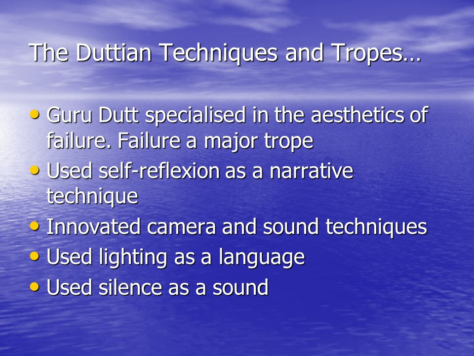 The Duttian Techniques and Tropes… Guru Dutt specialised in the aesthetics of failure.