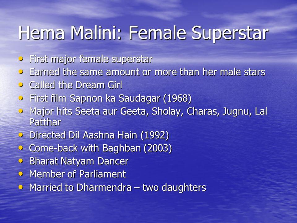 Hema Malini: Female Superstar First major female superstar First major female superstar Earned the same amount or more than her male stars Earned the same amount or more than her male stars Called the Dream Girl Called the Dream Girl First film Sapnon ka Saudagar (1968) First film Sapnon ka Saudagar (1968) Major hits Seeta aur Geeta, Sholay, Charas, Jugnu, Lal Patthar Major hits Seeta aur Geeta, Sholay, Charas, Jugnu, Lal Patthar Directed Dil Aashna Hain (1992) Directed Dil Aashna Hain (1992) Come-back with Baghban (2003) Come-back with Baghban (2003) Bharat Natyam Dancer Bharat Natyam Dancer Member of Parliament Member of Parliament Married to Dharmendra – two daughters Married to Dharmendra – two daughters