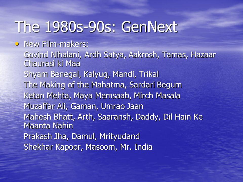 The 1980s-90s: GenNext New Film-makers: New Film-makers: Govind Nihalani, Ardh Satya, Aakrosh, Tamas, Hazaar Chaurasi ki Maa Shyam Benegal, Kalyug, Mandi, Trikal The Making of the Mahatma, Sardari Begum Ketan Mehta, Maya Memsaab, Mirch Masala Muzaffar Ali, Gaman, Umrao Jaan Mahesh Bhatt, Arth, Saaransh, Daddy, Dil Hain Ke Maanta Nahin Prakash Jha, Damul, Mrityudand Shekhar Kapoor, Masoom, Mr.