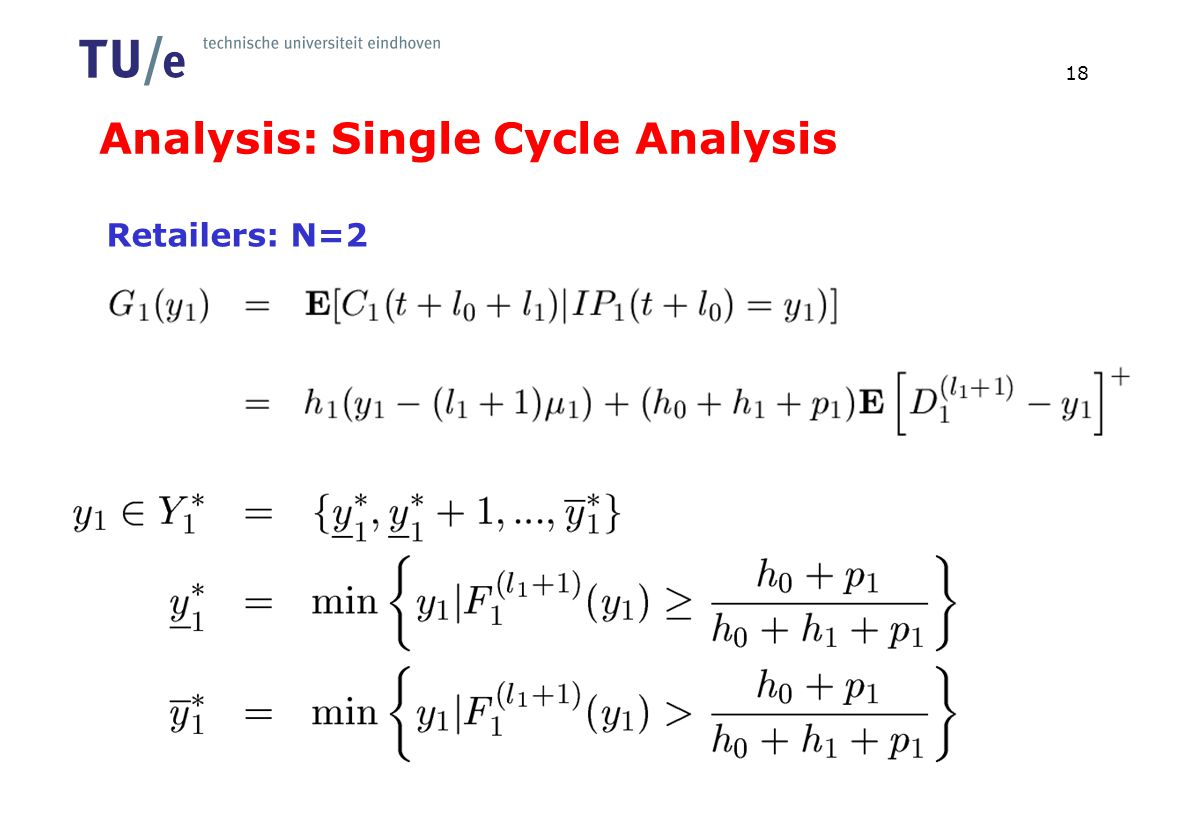 Analysis: Single Cycle Analysis 18 Retailers: N=2
