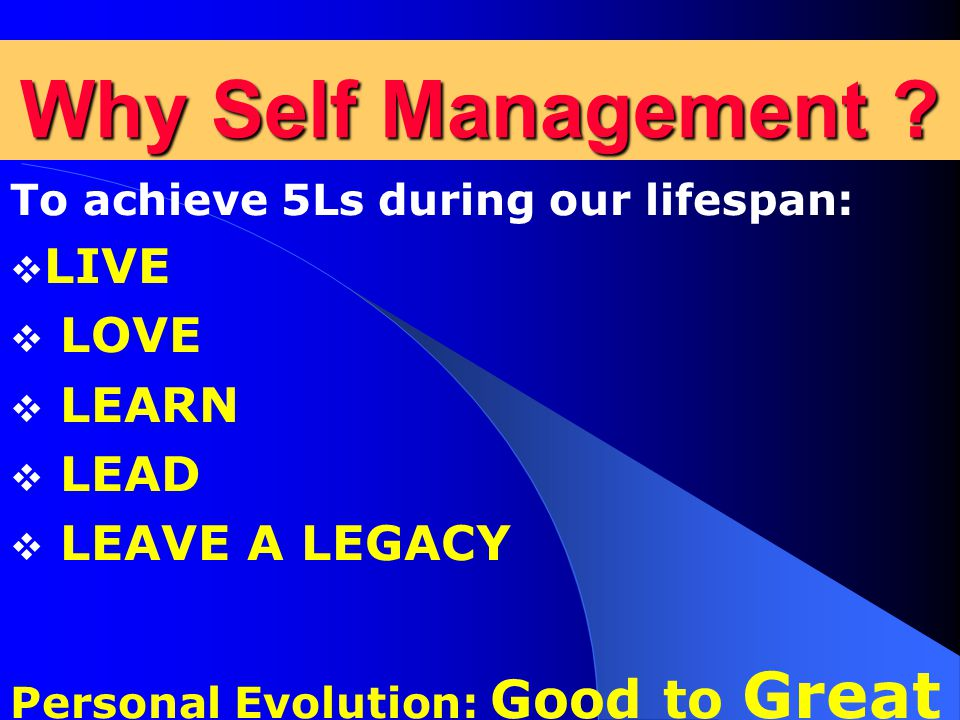 Why Self Management .