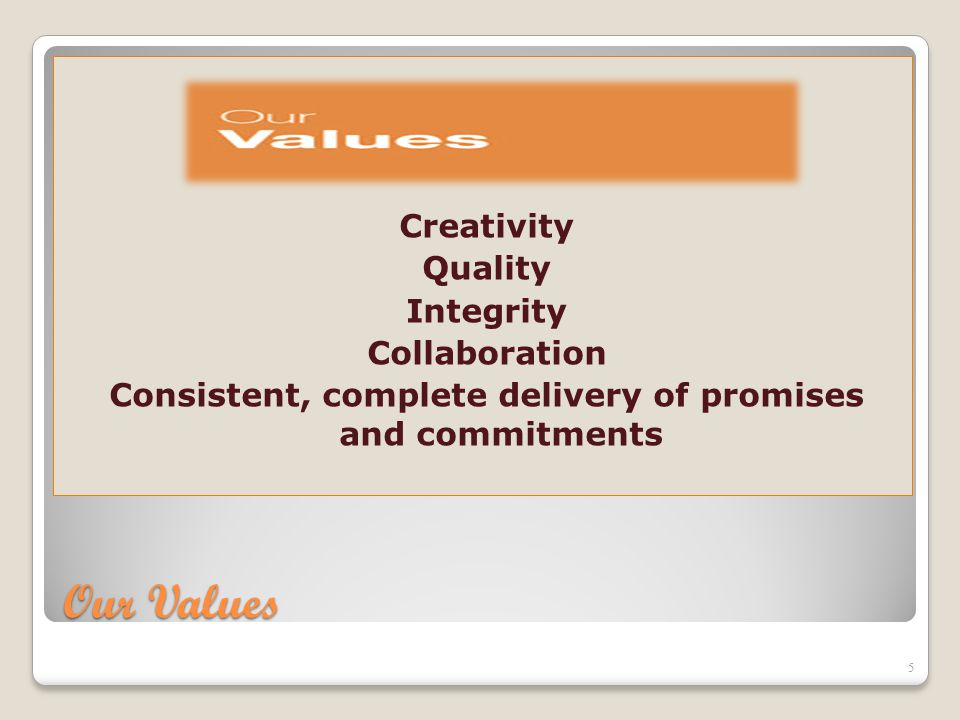 Our Values Creativity Quality Integrity Collaboration Consistent, complete delivery of promises and commitments 5