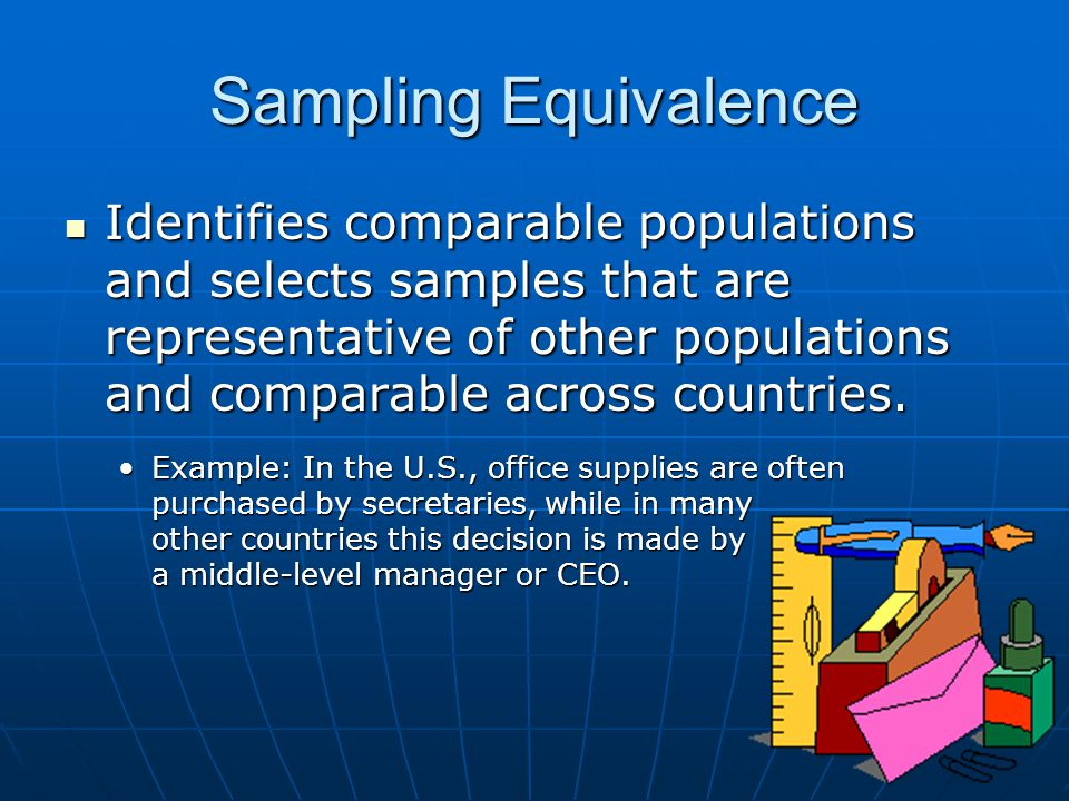 Sampling Equivalence Identifies comparable populations and selects samples that are representative of other populations and comparable across countrie