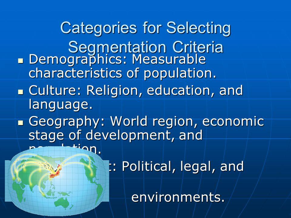Categories for Selecting Segmentation Criteria Demographics: Measurable characteristics of population. Demographics: Measurable characteristics of pop