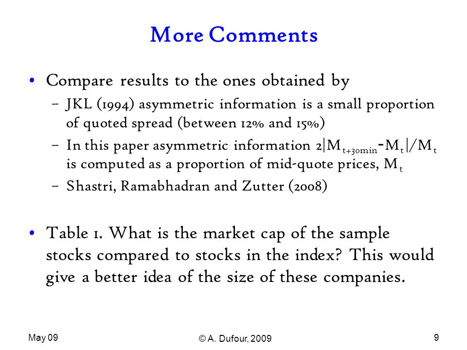 May 09 © A. Dufour, 2009 9 More Comments Compare results to the ones obtained by –JKL (1994) asymmetric information is a small proportion of quoted sp