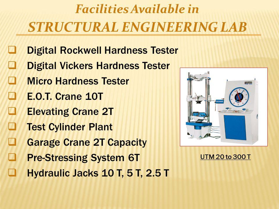  Digital Rockwell Hardness Tester  Digital Vickers Hardness Tester  Micro Hardness Tester  E.O.T. Crane 10T  Elevating Crane 2T  Test Cylinder P
