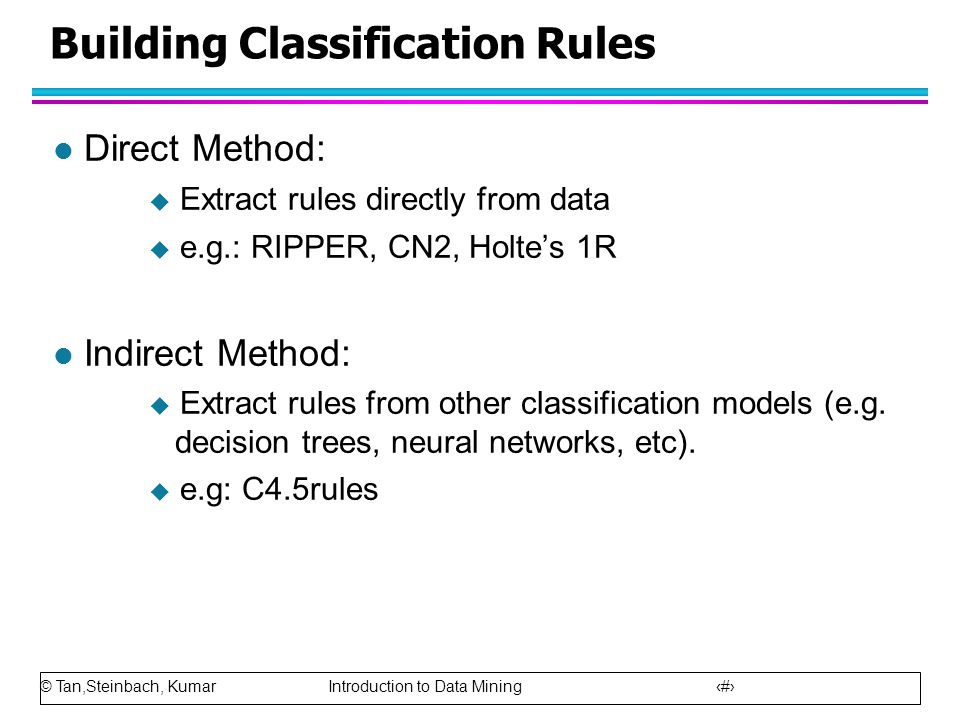 © Tan,Steinbach, Kumar Introduction to Data Mining 13 Building Classification Rules l Direct Method:  Extract rules directly from data  e.g.: RIPPER