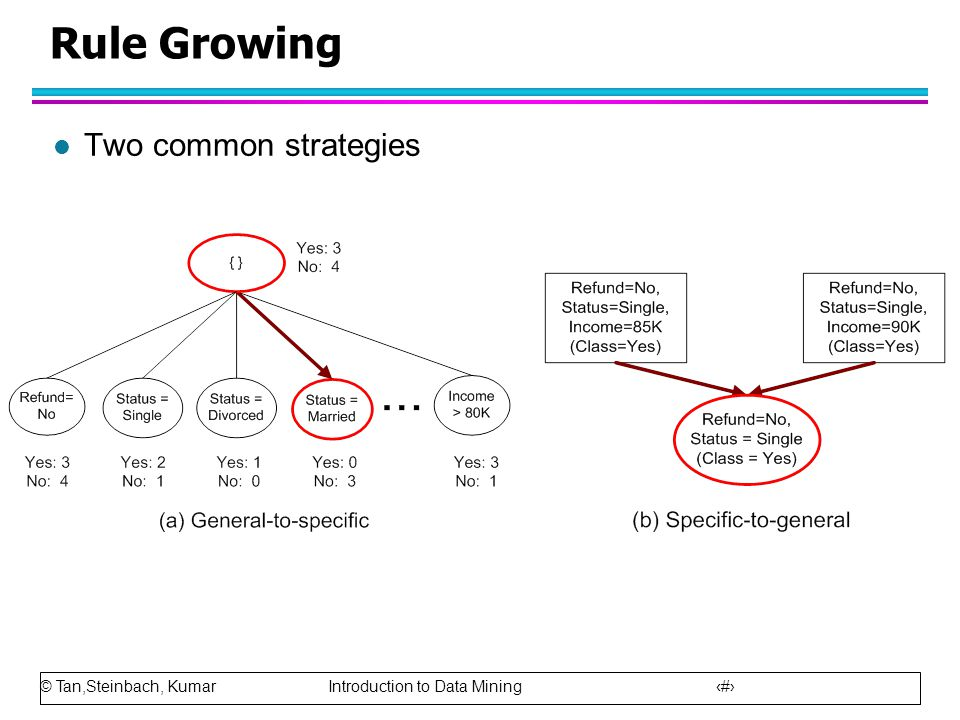 © Tan,Steinbach, Kumar Introduction to Data Mining 18 Rule Growing l Two common strategies