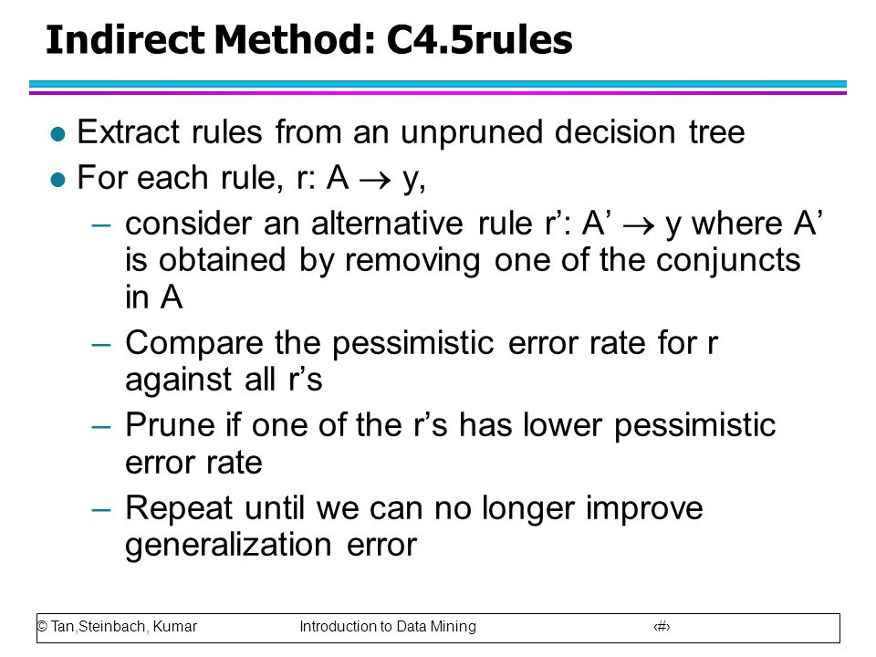 © Tan,Steinbach, Kumar Introduction to Data Mining 29 Indirect Method: C4.5rules l Extract rules from an unpruned decision tree l For each rule, r: A
