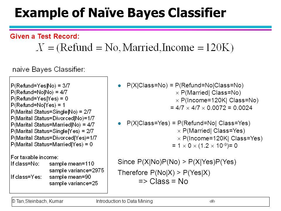 © Tan,Steinbach, Kumar Introduction to Data Mining 54 Example of Naïve Bayes Classifier l P(X|Class=No) = P(Refund=No|Class=No)  P(Married| Class=No)