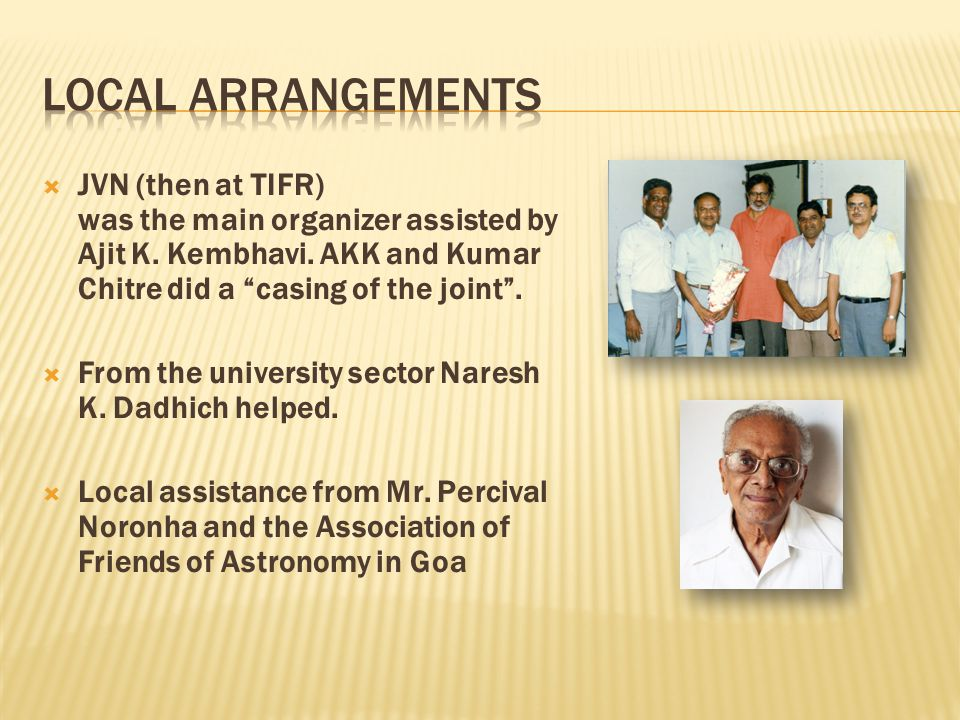  JVN (then at TIFR) was the main organizer assisted by Ajit K.