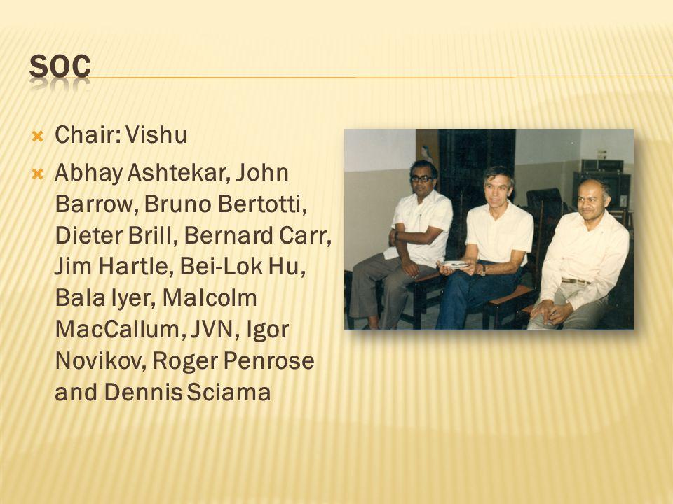  Chair: Vishu  Abhay Ashtekar, John Barrow, Bruno Bertotti, Dieter Brill, Bernard Carr, Jim Hartle, Bei-Lok Hu, Bala Iyer, Malcolm MacCallum, JVN, Igor Novikov, Roger Penrose and Dennis Sciama