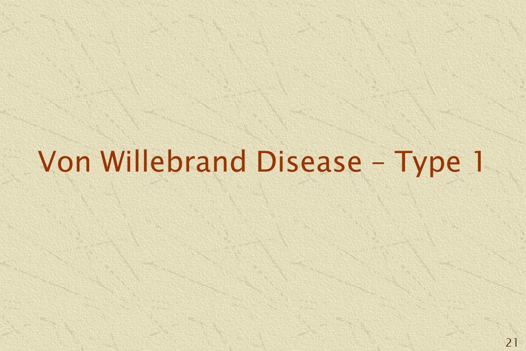 21 Von Willebrand Disease – Type 1