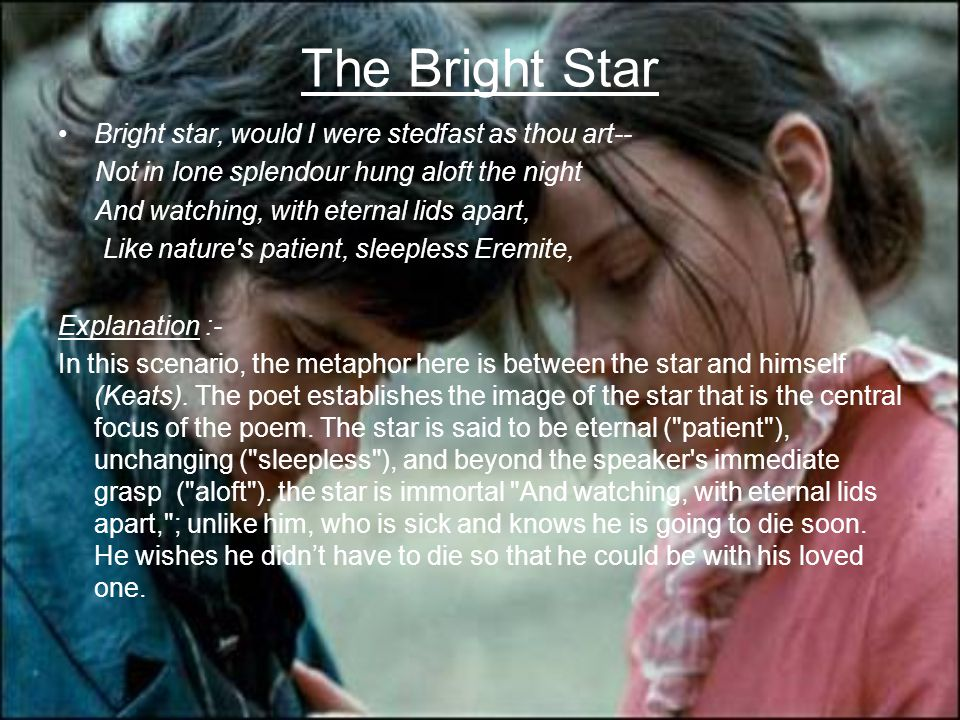 The Bright Star Bright star, would I were stedfast as thou art-- Not in lone splendour hung aloft the night And watching, with eternal lids apart, Lik