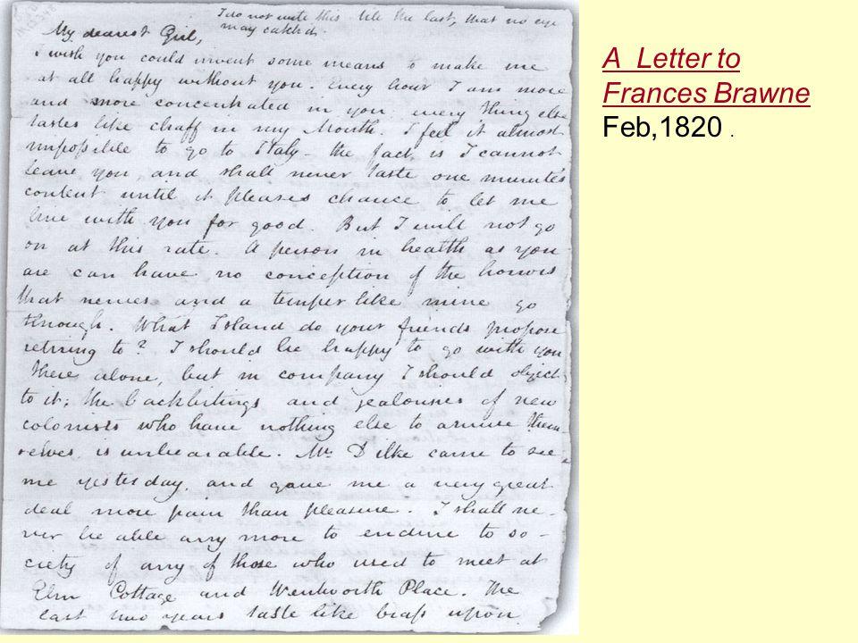 A Letter to Frances Brawne Feb,1820.