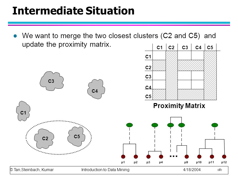 © Tan,Steinbach, Kumar Introduction to Data Mining 4/18/2004 33 Intermediate Situation l We want to merge the two closest clusters (C2 and C5) and update the proximity matrix.