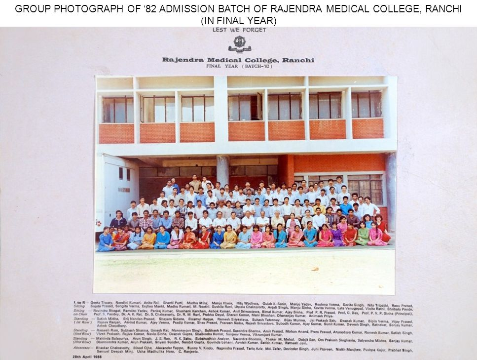 GROUP PHOTOGRAPH OF '82 ADMISSION BATCH OF RAJENDRA MEDICAL COLLEGE, RANCHI (IN FINAL YEAR)