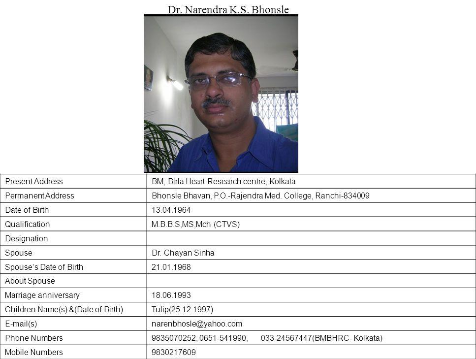 Present AddressBM, Birla Heart Research centre, Kolkata Permanent AddressBhonsle Bhavan, P.O.-Rajendra Med.