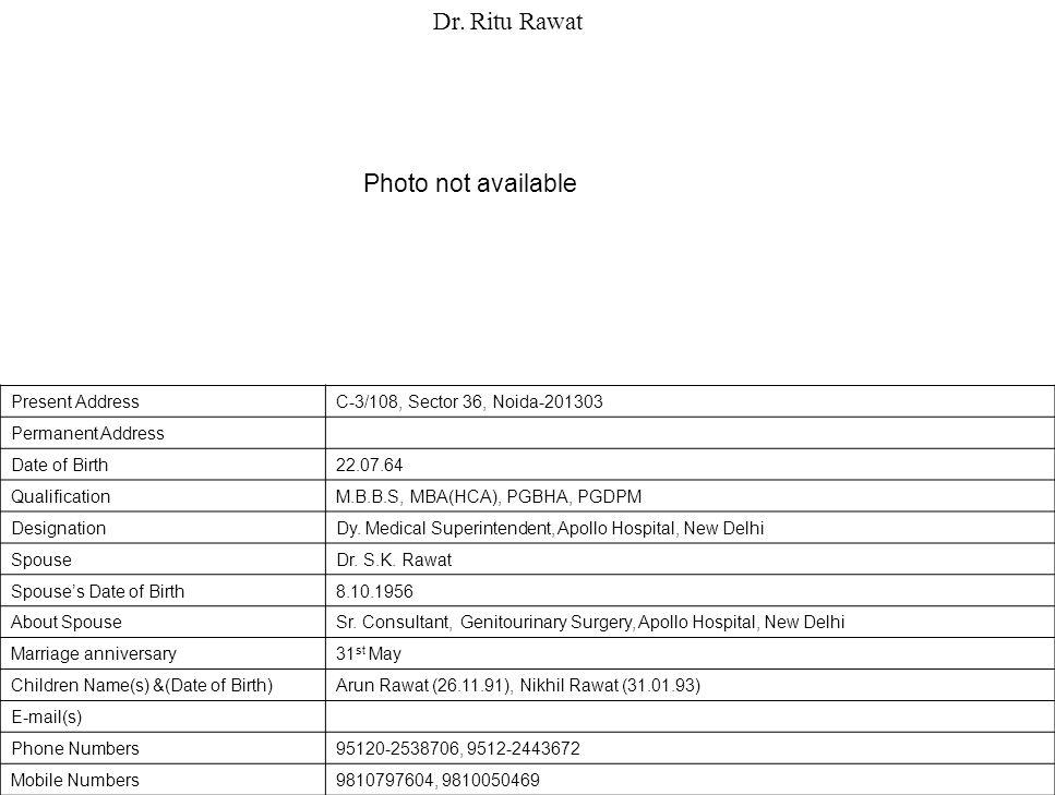 Present AddressC-3/108, Sector 36, Noida-201303 Permanent Address Date of Birth22.07.64 QualificationM.B.B.S, MBA(HCA), PGBHA, PGDPM DesignationDy.