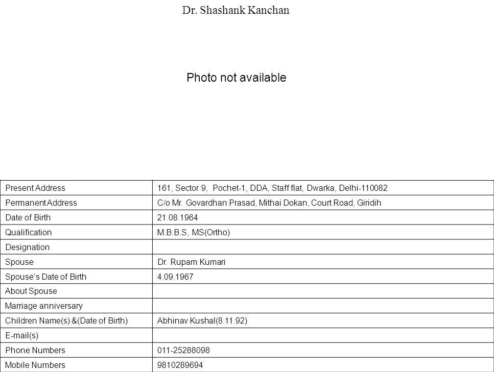 Present Address161, Sector 9, Pochet-1, DDA, Staff flat, Dwarka, Delhi-110082 Permanent AddressC/o Mr.