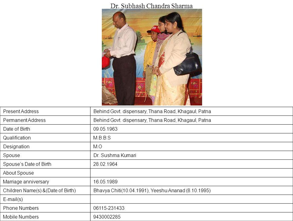 Present AddressBehind Govt.dispensary, Thana Road, Khagaul, Patna Permanent AddressBehind Govt.