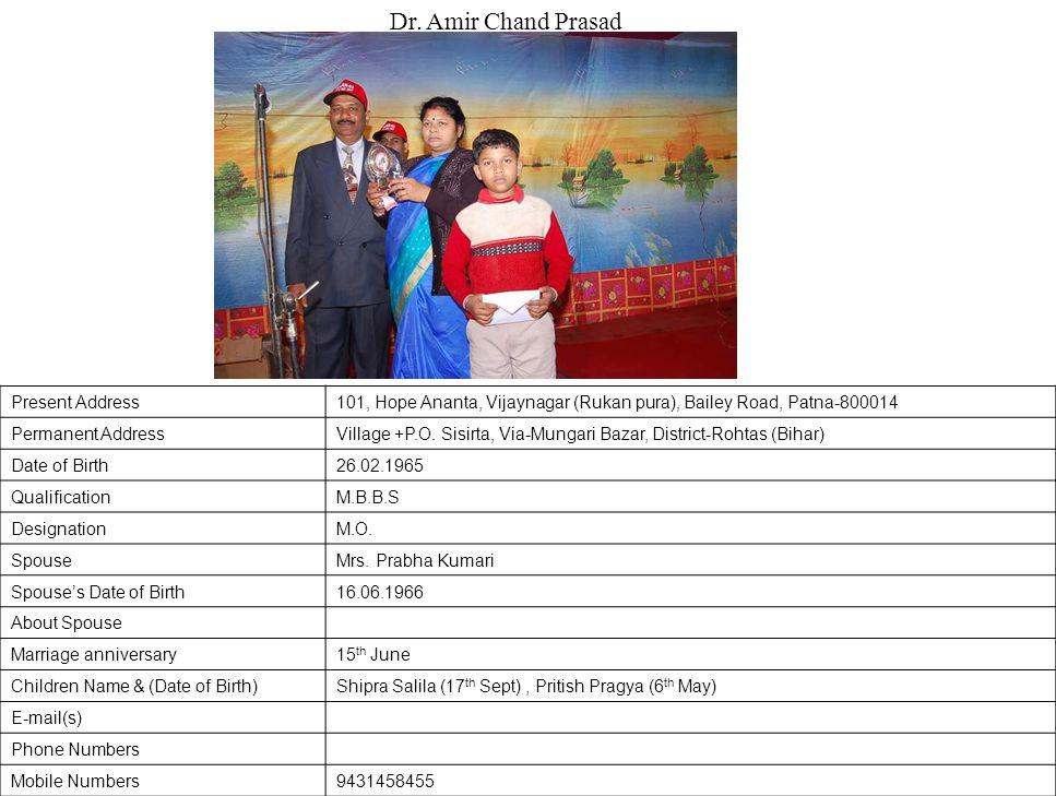 Present Address101, Hope Ananta, Vijaynagar (Rukan pura), Bailey Road, Patna-800014 Permanent AddressVillage +P.O.