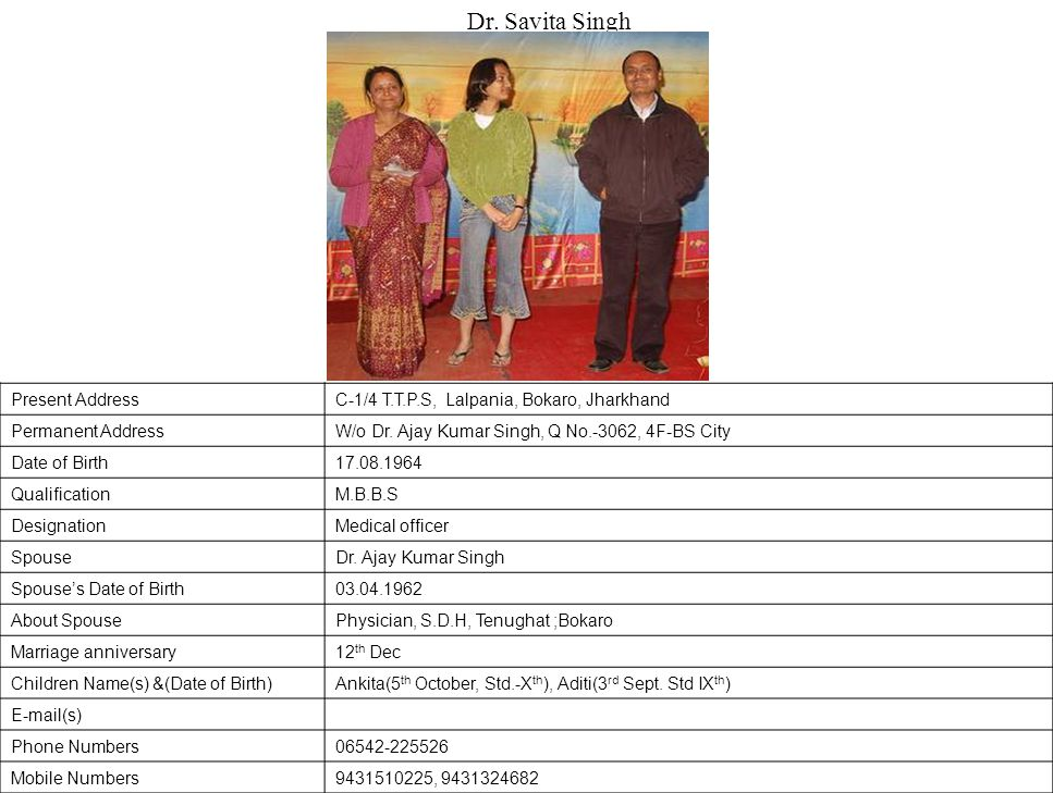 Present AddressC-1/4 T.T.P.S, Lalpania, Bokaro, Jharkhand Permanent AddressW/o Dr.