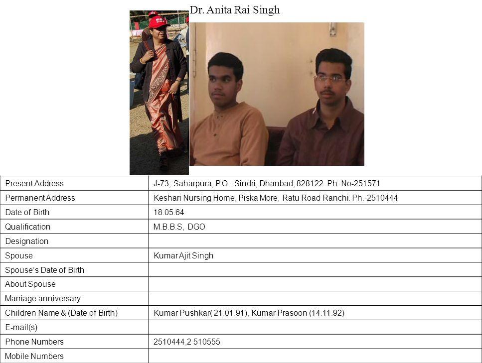 Present AddressJ-73, Saharpura, P.O.Sindri, Dhanbad, 828122.