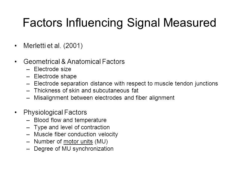 Factors Influencing Signal Measured Merletti et al.