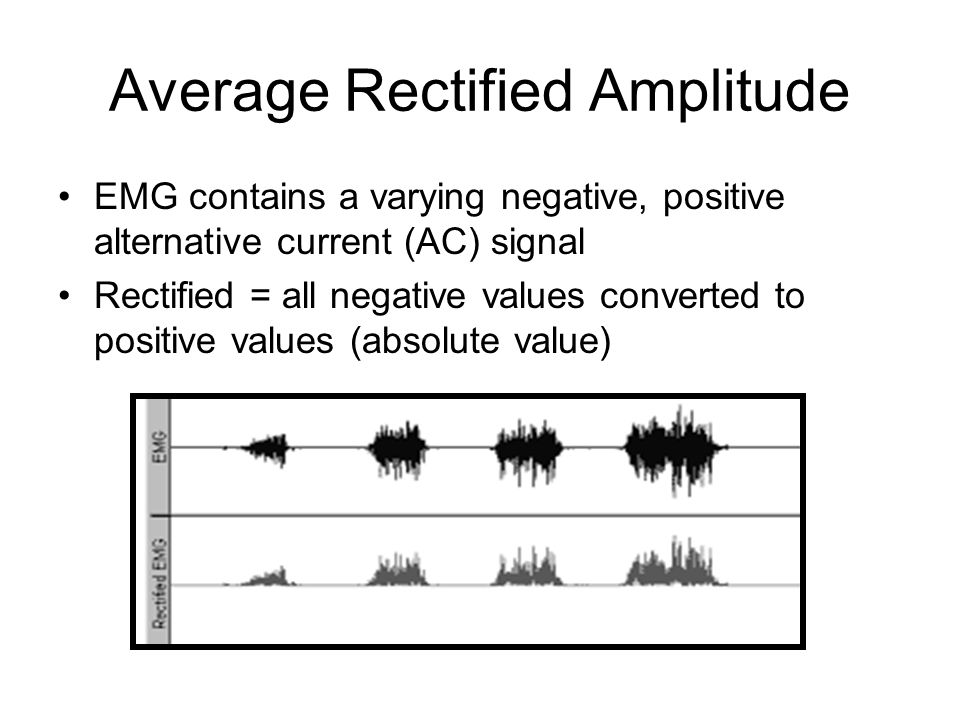 Average Rectified Amplitude EMG contains a varying negative, positive alternative current (AC) signal Rectified = all negative values converted to positive values (absolute value)