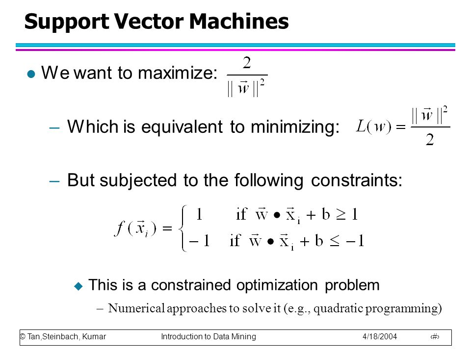 © Tan,Steinbach, Kumar Introduction to Data Mining 4/18/2004 42 Support Vector Machines l We want to maximize: –Which is equivalent to minimizing: –Bu