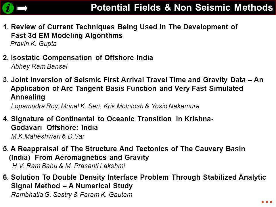 Potential Fields & Non Seismic Methods 1.