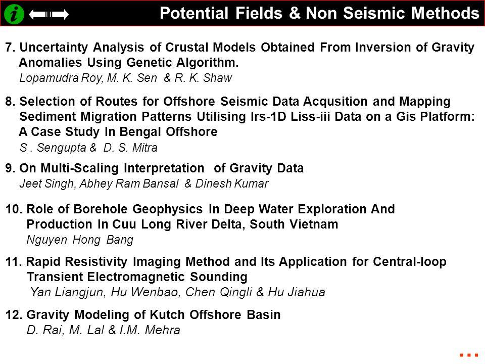 Potential Fields & Non Seismic Methods 7.