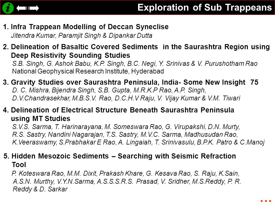 Exploration of Sub Trappeans 1. Infra Trappean Modelling of Deccan Syneclise Jitendra Kumar, Paramjit Singh & Dipankar Dutta 2. Delineation of Basalti