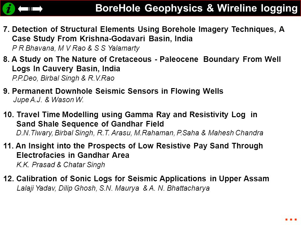 BoreHole Geophysics & Wireline logging 7. Detection of Structural Elements Using Borehole Imagery Techniques, A Case Study From Krishna-Godavari Basin
