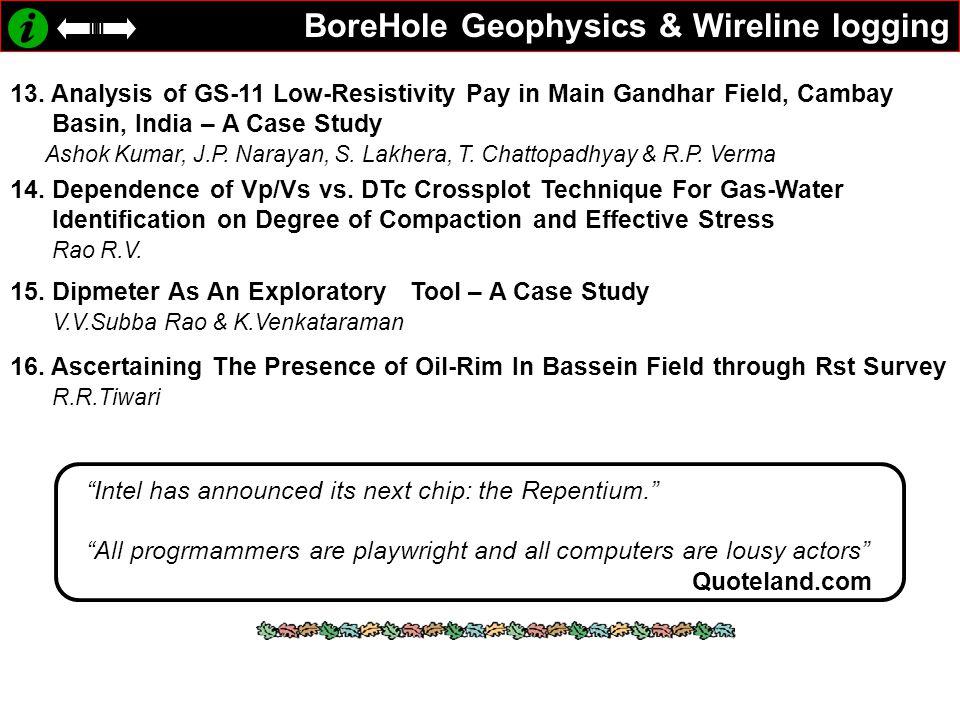BoreHole Geophysics & Wireline logging 13.