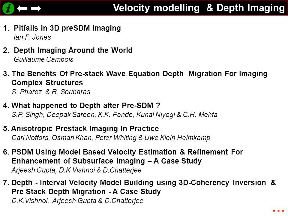 Velocity modelling & Depth Imaging 1.
