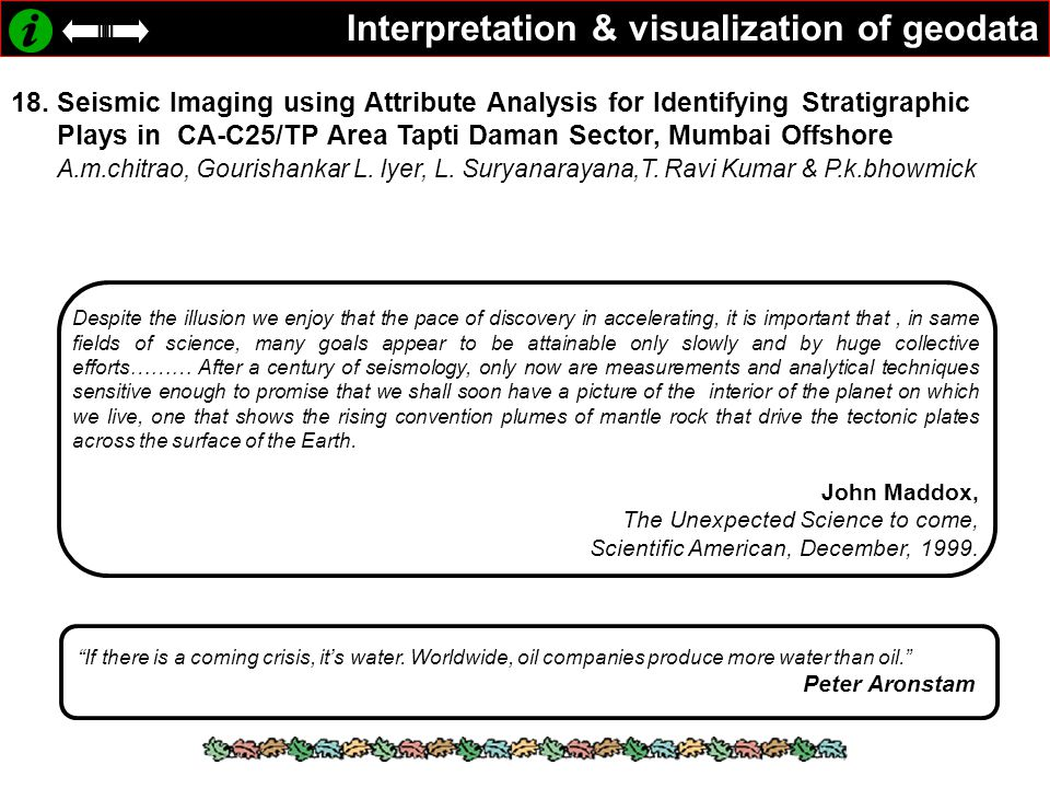 Interpretation & visualization of geodata 18.