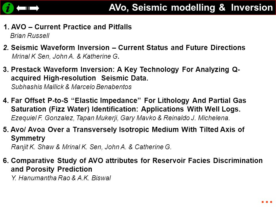 AVo, Seismic modelling & Inversion 1. AVO – Current Practice and Pitfalls Brian Russell 2. Seismic Waveform Inversion – Current Status and Future Dire