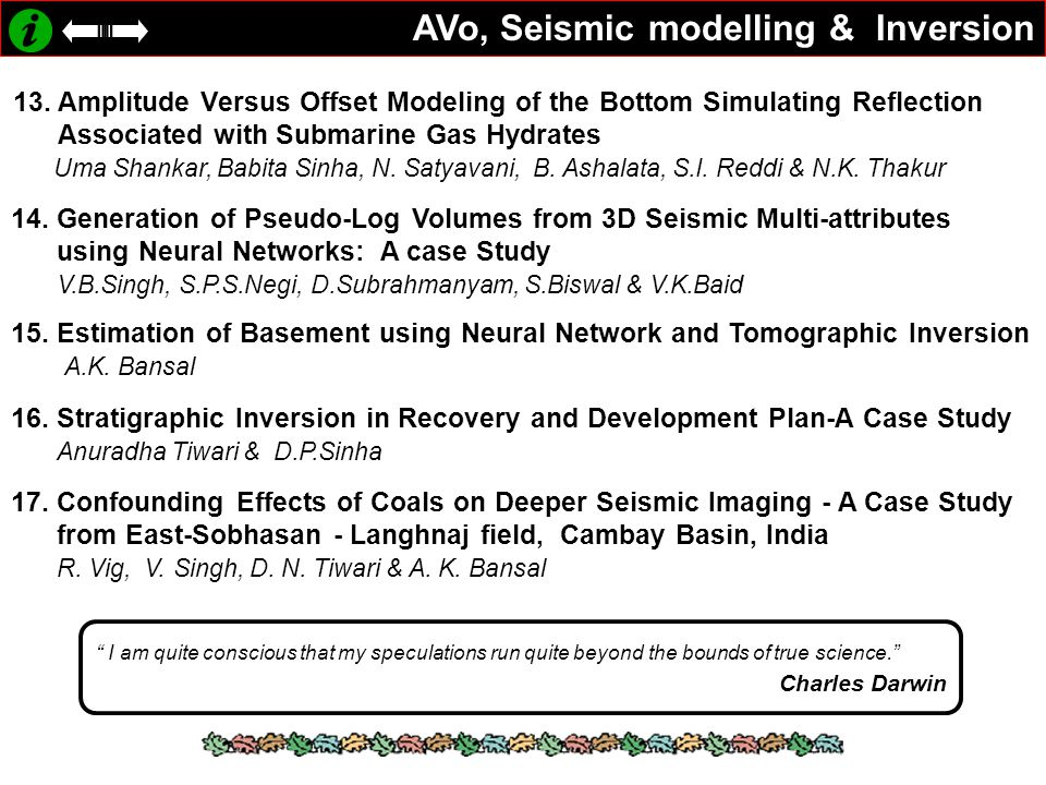 AVo, Seismic modelling & Inversion 13. Amplitude Versus Offset Modeling of the Bottom Simulating Reflection Associated with Submarine Gas Hydrates Uma