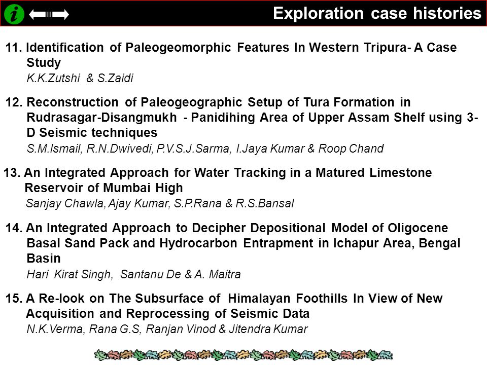 Exploration case histories 11. Identification of Paleogeomorphic Features In Western Tripura- A Case Study K.K.Zutshi & S.Zaidi 12. Reconstruction of