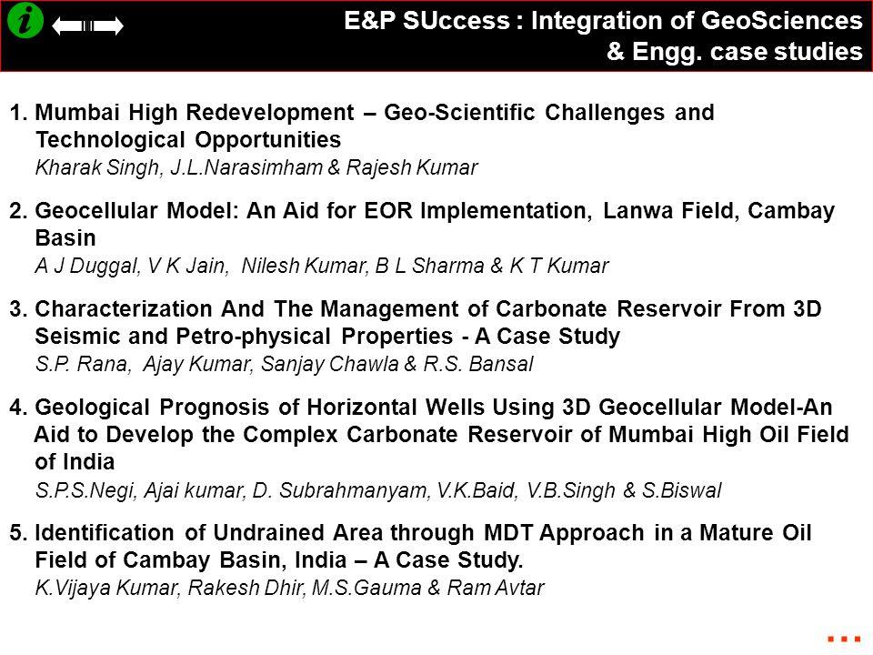 E&P SUccess : Integration of GeoSciences & Engg.case studies 1.
