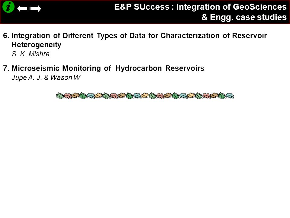 E&P SUccess : Integration of GeoSciences & Engg. case studies 6. Integration of Different Types of Data for Characterization of Reservoir Heterogeneit