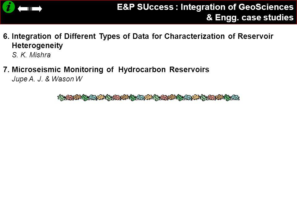 E&P SUccess : Integration of GeoSciences & Engg.case studies 6.