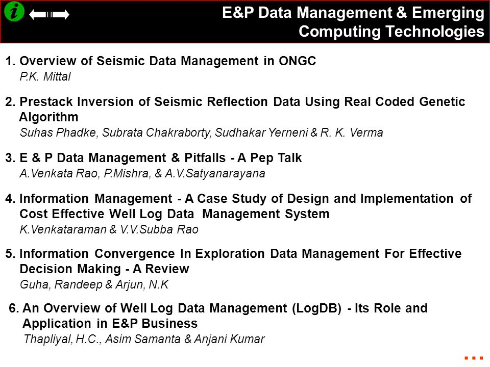 E&P Data Management & Emerging Computing Technologies 1.