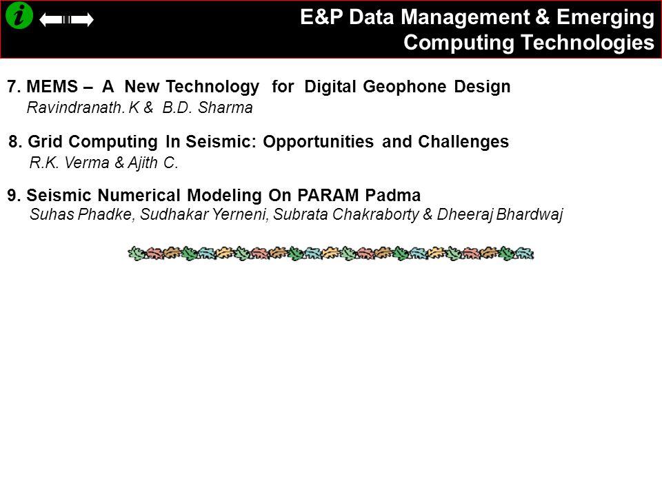 7.MEMS – A New Technology for Digital Geophone Design Ravindranath.