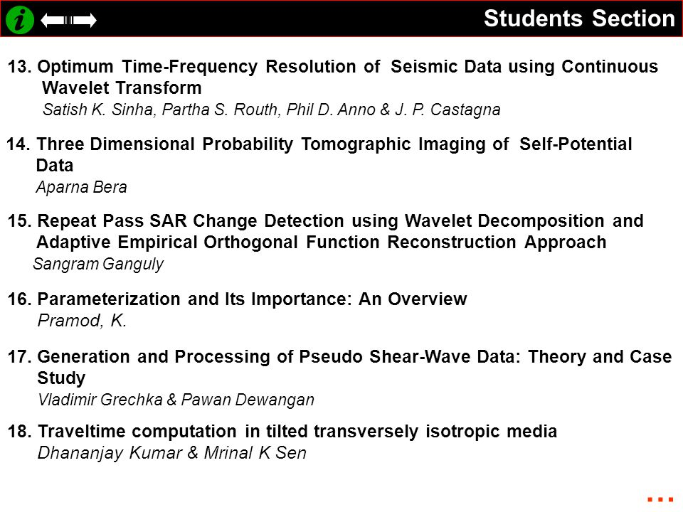 Students Section 13. Optimum Time-Frequency Resolution of Seismic Data using Continuous Wavelet Transform Satish K. Sinha, Partha S. Routh, Phil D. An