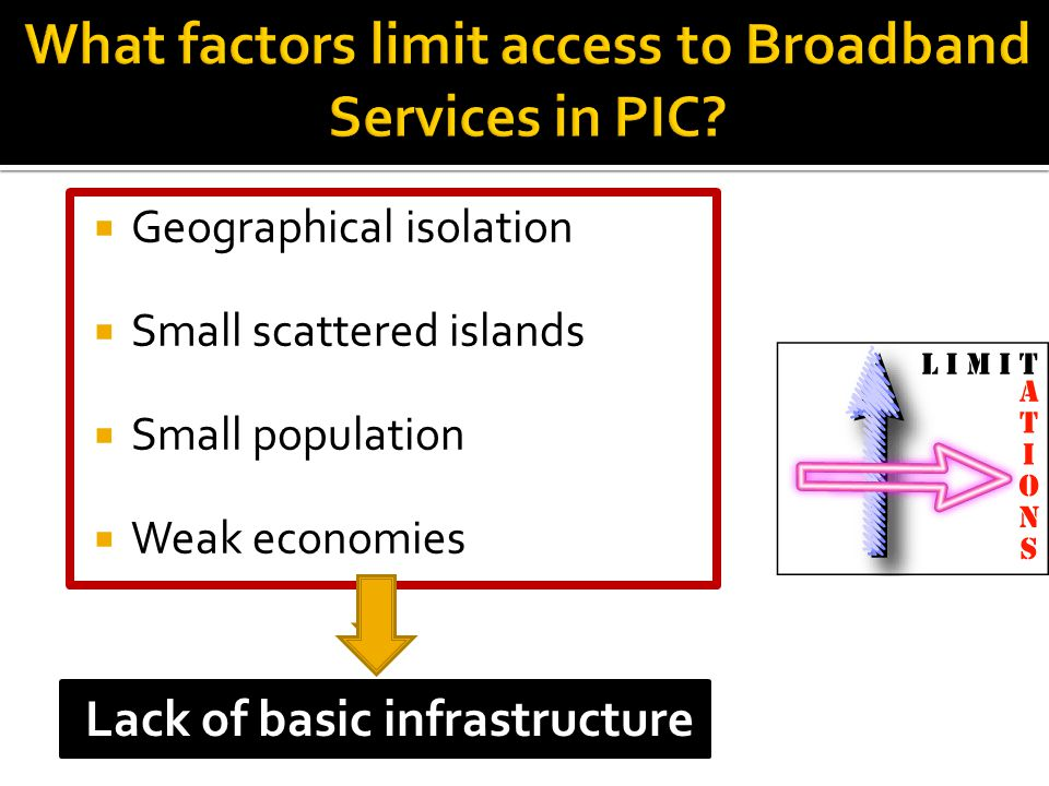  Geographical isolation  Small scattered islands  Small population  Weak economies Lack of basic infrastructure