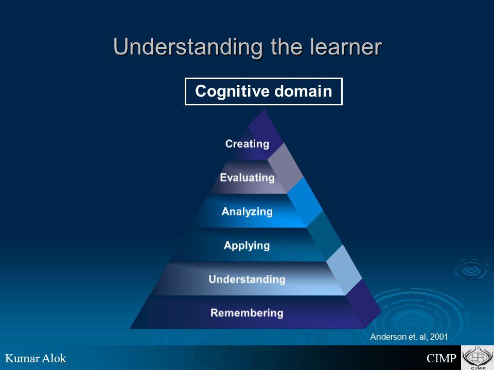 Kumar Alok CIMP Understanding the learner Cognitive domain Anderson et. al, 2001